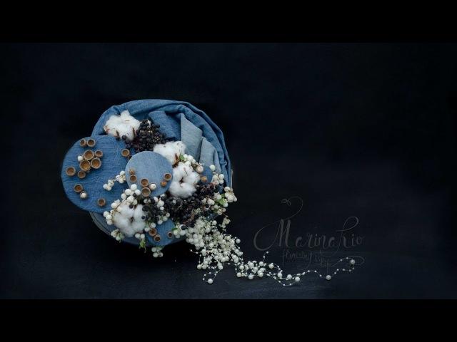 Флористика букет из джинса на каркасе Мастер класс Florist Marina Kio
