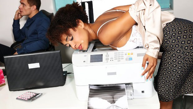 WOW Ebony office babe hot for coworker # 1