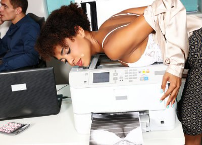 Ebony office babe hot for coworker