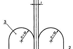 Установка для испытаний на холодный изгиб: — образец кабеля; 2 — стальная плита; 3 — стальная оправа.