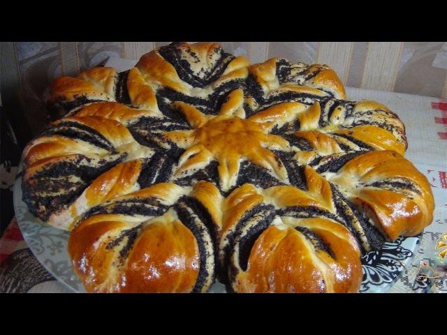 Праздничный пирог с маком-цветок (Cake with poppy filling-flower)