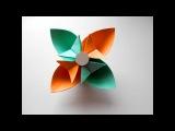 Цветок из бумаги. Простые поделки оригами для детей.