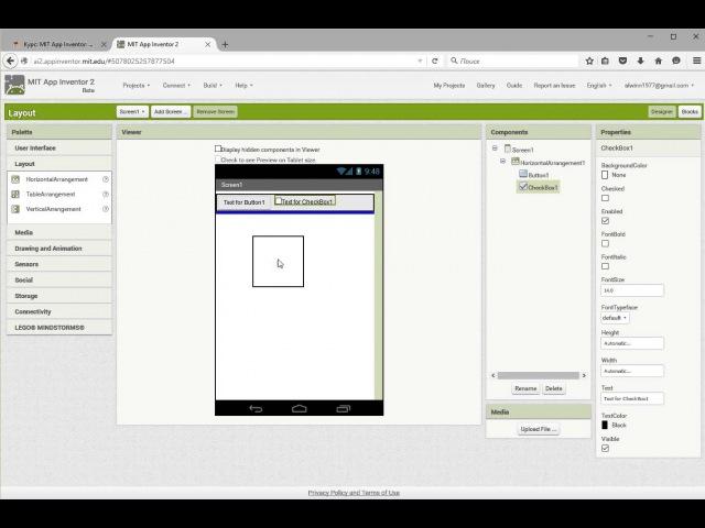 Расположение элементов пользовательского интерфейса на экране приложения MIT App Inventor