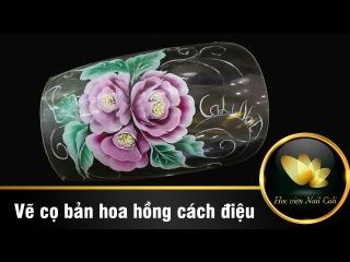 Cách vẽ móng tay hoa hồng bằng cọ bản
