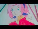 speed drawing sakura haruno anime naruto как нарисовать сакуру харуно из аниме наруто nasil