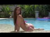 Pink polka dot g-string bikini photo shoot
