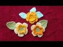 Вязание Цветочка с Листочком Украшение моделей Вязание крючком