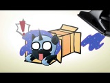 Ponies getting vacuumed out of a box