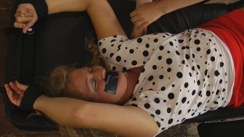 Blonde MILF undergoes forced masturbation after being tied up and ball gagged  645940