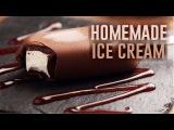 Homemade Vanilla Ice Cream with Caramel and Chocolate