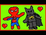 Рисуем. Человек паук. Бэтмен. ПИКСЕЛЬ ХУДОЖНИК. Майнкрафт. Pixel Painter. Minecraft.