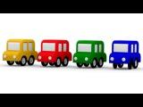 🚗 4 CARROS coloridos! Arco Mágico: VERDE. As cores para crianças.Desenhos animados para crianças