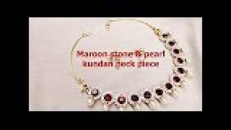 Fashion jewelry making - Maroon stone and white kundan neck piece