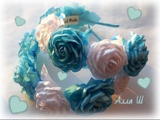 МК Ободок -венок с розами из лент / DIY Roses Headband
