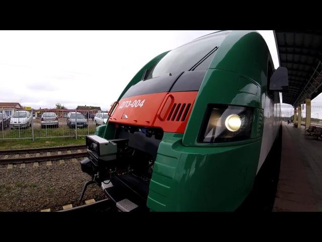 Дизель поезд ДП3 004 на пуско наладочных работах на станции Руденск