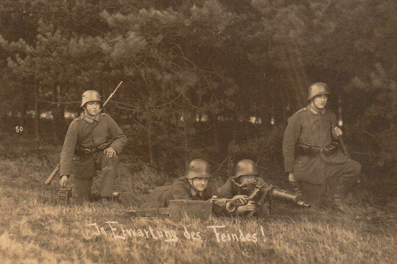 """""""Ожидая противника!"""" - немецкое фото 1917г"""