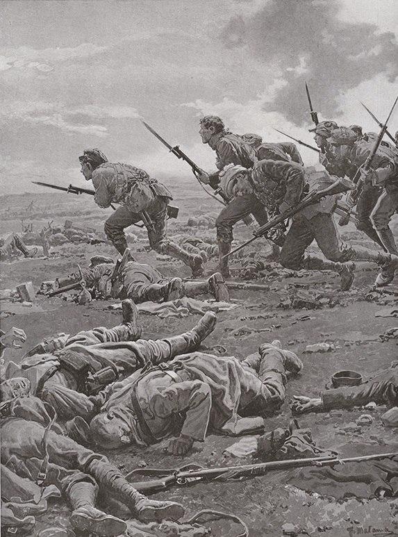 """""""Второй Манстерский полк атакует немецкие позиции под Уллох, Лоос"""" Фортунино Матаниа, 1916г"""