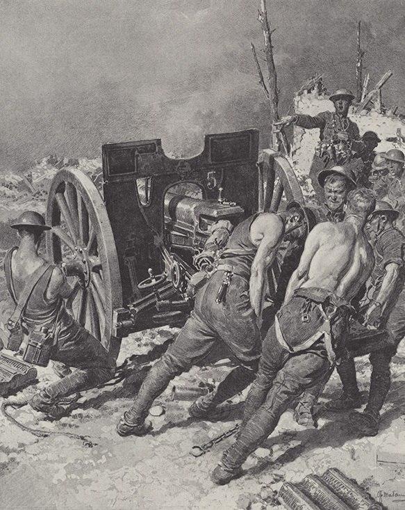 """""""Британские артиллеристы разворачивают трофейную немецкую пушку в сторону врага"""" Фортунино Матаниа, 1918г"""