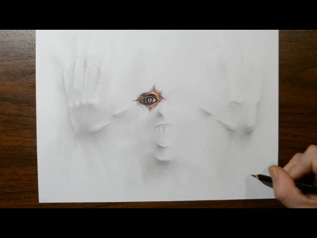 Drawing a Demon Under My Paper - 3D Trick Art