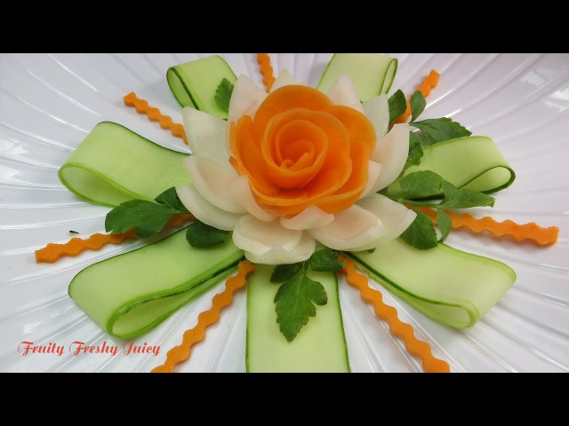 Carrot Rose Sitting On Onion lotus Flower With Great Cucumber Designs