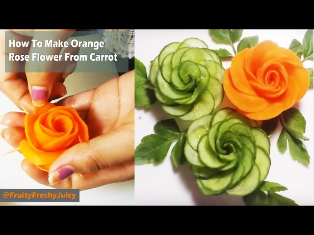 How To Make Orange Rose Flower From Carrot - Cutting Carving