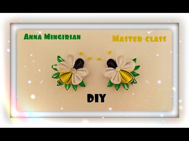 Пчёлка заколка Kanzashi Anna Mingirian DIY