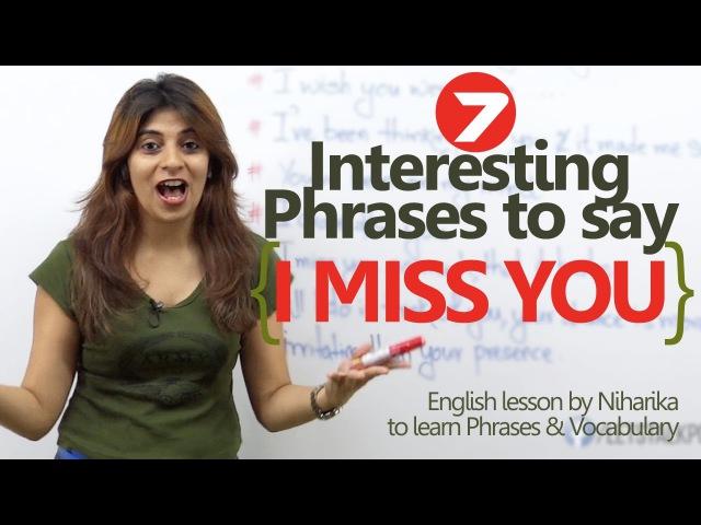 """English Lesson - 7 ways to say """"I Miss You"""" – Spoken English phrases to speak English confidently"""