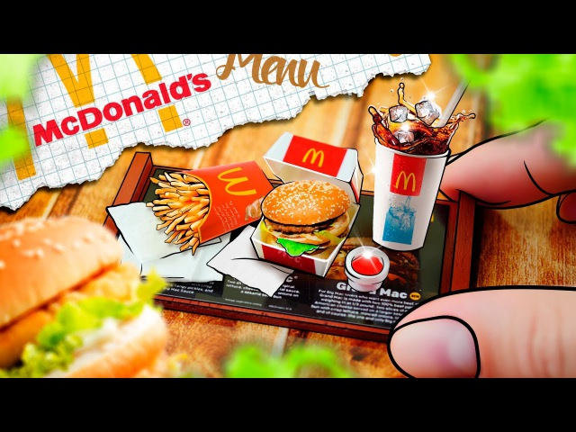 DIY - Miniature McDonalds menu: French fries, Coca-cola, BigMac - No Clay! | Easy DIY Miniature