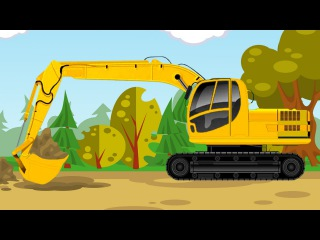 The Yellow Excavator in the World of Cars | Construction Trucks Video | Diggers Cartoon for children