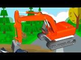 Excavadora - Caricatura de carros - Dibujos animados - La zona de construcción