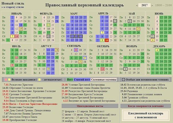 православный календарь больших праздников на 2017 перед