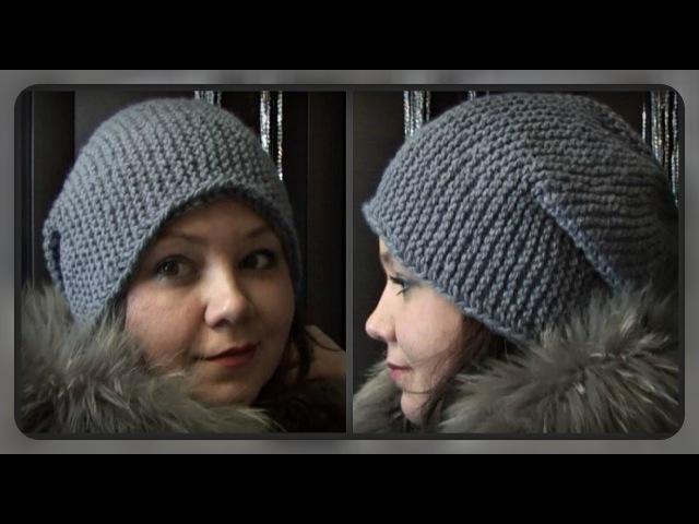 женская шапка бини вязание спицами