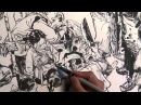 JungGi Kim 김정기 Brush pen drawing, Dragon hunter