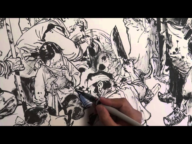 JungGi Kim 김정기 Brush pen drawing Dragon hunter