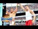 Rob Gronkowski helps Mojo Rawley win the Andre Battle Royal: WrestleMania 33 Kickoff, April 2, 2017