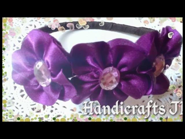 Diadema con flores de tela paso a paso / headband with cloth flowers step by step