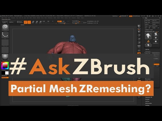 "AskZBrush: ""Is it possible to use ZRemesher to just remesh part of a Subtool?"""