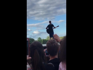 June 5: Fan taken video of Justin performing 'Fast Car' in Aarhus, Denmark.