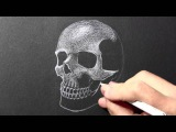 How to Draw a Skull White Pencil on Black Paper