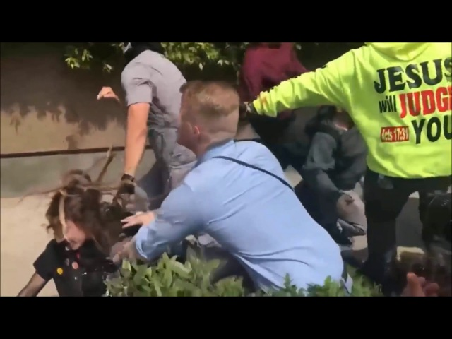Antifa girl gets punched