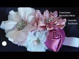 Como hacer una Tiara de Flores en tela Rosa. D.I.Y Satin Flower Baby Headband.