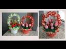 Мастер-класс Вязанная корзинка с тюльпанами Сборка композиции корзины с цветами.