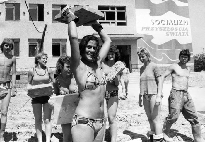 На стройке, Гливице, Польша, , 1976 год. Фотограф: Jan Suchan.