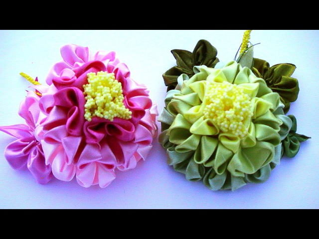 Ribbon flower tutorial, how to make, DIY flowers Kanzashi Tatiana Vasyliuk / Цветы своими руками