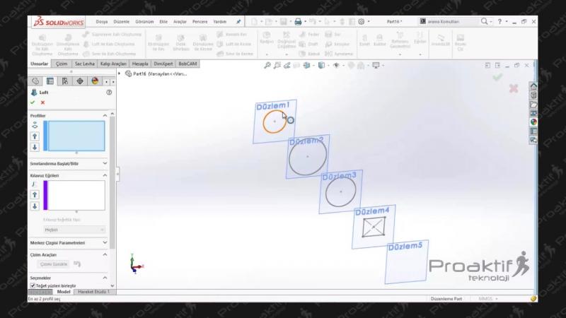 SolidWorks Parça 62 Çoklu Çizim İle Loft Komutu