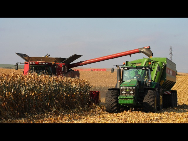 Corn Harvest 2016 - Case IH 9120 Combine and 12 Row Corn Head | John Deere 8530 Bergmann GTW 430