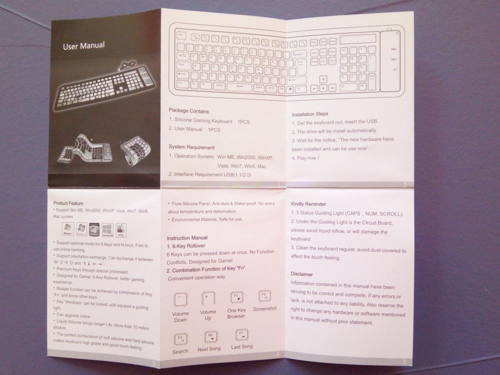 TVC-Mall: Силиконовая клавиатура CHINFAI (KB-3210)