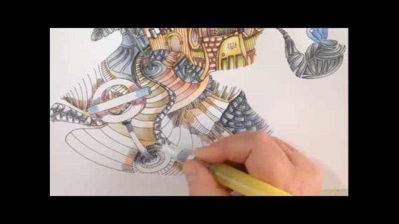 The magical city - inktense pencils - part 2 - finetec paint - speedcoloring tutorial