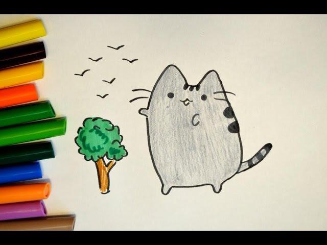 Как нарисовать Кот Пушин (Pusheen the cat) с деревом - простые рисунки. How to draw a cat Pusheen