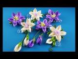 Ribbon flowershairpins setFlores de cintasconjunto de pelo clipsЦветы из лентнабор заколок.МК